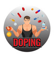 doping drugs and fit sportsman inside circle vector image vector image