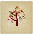 four seasons trees old background vector image vector image