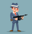 gangster with submachine gun thug criminal vector image vector image