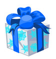 gift box with a blue bowknot with wrapped paper vector image vector image