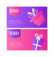 gift card sale voucher web banner design templat vector image vector image
