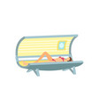 girl lying and tanning in solarium cartoon poster vector image