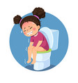 girl sitting on toilet and suffering from diarrhea vector image