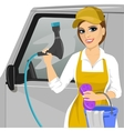 girl with a soapy sponge and hose to wash a car vector image