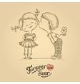 Hand drawn of kissing boy and girl vector image vector image
