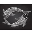hand drawn two koi fishes japanese carp vector image
