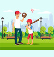 happy cartoon father plays baseball with son vector image vector image