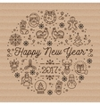 Happy New Year 2017 layout linear icons on vector image vector image