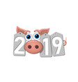 happy new year background pink pig silver sale vector image vector image