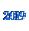Happy new year card blue 3d number 2019