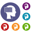 head with open book icons set vector image vector image