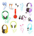 headphone headset listening to stereo sound vector image