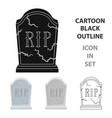 headstone icon in cartoon style isolated on white vector image vector image