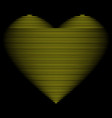 heart gold line on black sign 1601 vector image vector image
