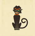 hipster halloween black cat in a fedora vector image vector image