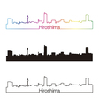 Hiroshima skyline linear style with rainbow vector image