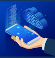 isometric cloud computing concept isometric cloud vector image vector image