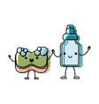 kawaii cartoon sponge and detergent bottle holding vector image vector image