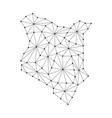 kenya map of polygonal mosaic lines network rays vector image