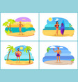men and women on summer vacation near sea set vector image vector image