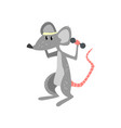 mouse exercising with dumbbells funny sportive vector image vector image