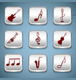 music buttons icon set vector image vector image