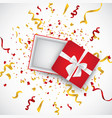 open 3d realistic gift box with white ribbon and vector image vector image