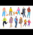 people dressed in winter clothes walking outdoors vector image