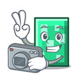 photographer rectangle mascot cartoon style vector image vector image
