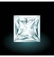 Princess cut diamond on black background vector image vector image