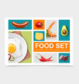 realistic food elements collection vector image vector image