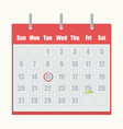red flip-flop calendar with gray numbers close-up vector image vector image