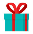 red ribbon gift box icon flat style vector image