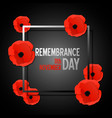 remembrance day paper cut banner with poppy vector image