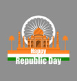 republic day of india taj mahal with flag vector image vector image
