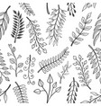 seamless pattern with doodle style floral vector image vector image