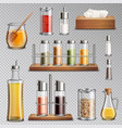 seasoning spices realistic set transparent vector image vector image