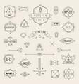 set hipster icons logo badge elements frames vector image