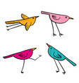 set of 4 cute birds isolated in white in vector image