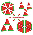 set of different pieces of watermelonds vector image