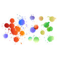 set watercolor colored drops ink expanding vector image