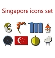 singapore flat icons set vector image vector image