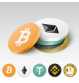 stack cryptocurrency tokens vector image