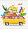 summer travel with bus beach vector image