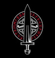 viking design viking sword in a circle from vector image vector image