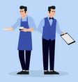 waiters in restaurant vector image vector image