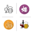 Alcohol drinks flat design linear and color icons vector image