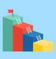 bar chart and ladder with red flag for use