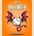 baseball ball with horns wings and devil tail vector image vector image