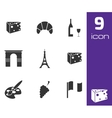 black paris icons set vector image vector image